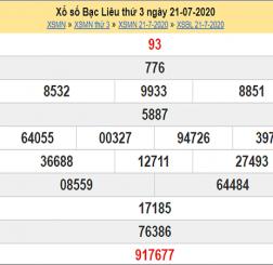 Thống kê KQXSBL- xổ số bạc liêu thứ 3 ngày 28/07/2020 hôm nay