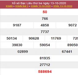 Dự đoán KQXSBL ngày 20/10/2020- xổ sổ bạc liêu chắc trúng